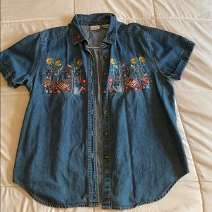 Embroidered Short Sleeve Button Down Jean Shirt
